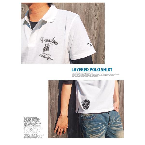 ポロシャツ メンズ 半袖ポロシャツ 鹿の子ポロシャツ 無地 刺繍 2点セット ビズポロ レイヤード menscasual 03
