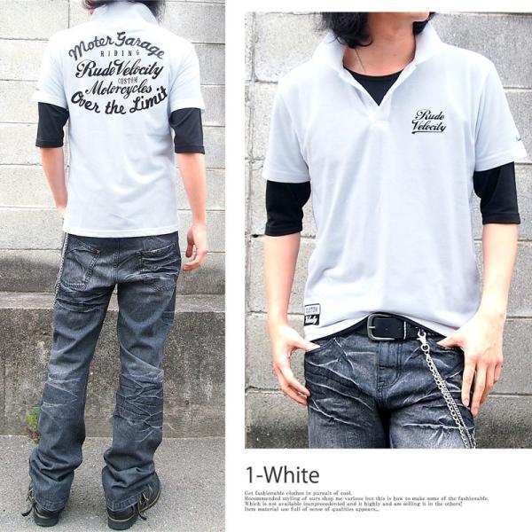 ポロシャツ メンズ 半袖ポロシャツ 鹿の子ポロシャツ 無地 刺繍 2点セット ビズポロ レイヤード menscasual 05