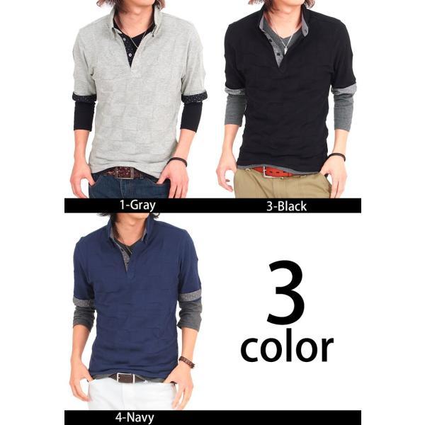 ポロシャツ メンズ 半袖ポロシャツ 無地 ドット柄 レイヤード 2点セット 水玉 ビズポロ ブロックチェック織り|menscasual|05