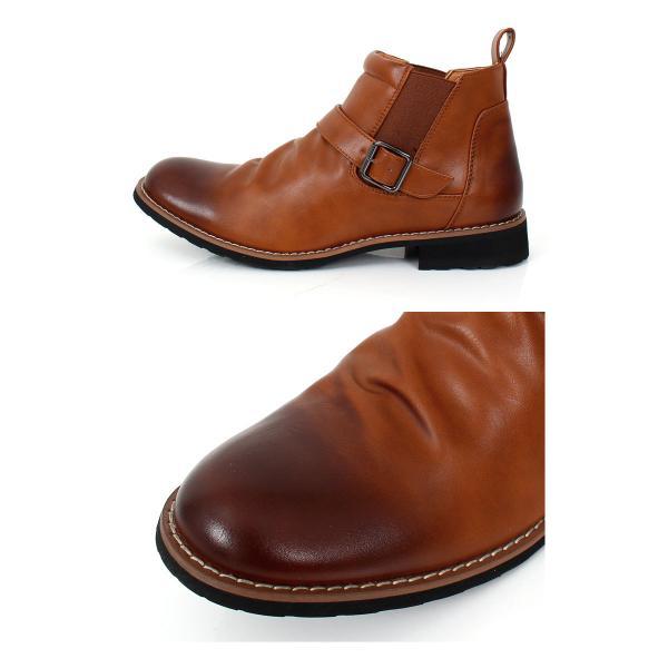 ブーツ メンズ サイドゴアブーツ ショートブーツ フェイクスウェード フェイクレザー 靴|menscasual|03