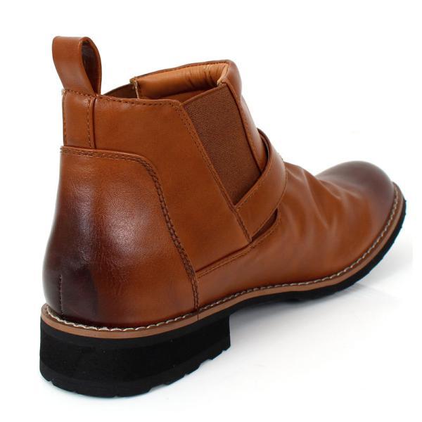 ブーツ メンズ サイドゴアブーツ ショートブーツ フェイクスウェード フェイクレザー 靴|menscasual|05