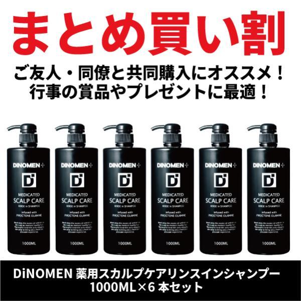 まとめ買い割 DiNOMEN薬用スカルプケアリンスインシャンプー1000ml×6本頭皮ケアフケかゆみ抜毛薄毛ボタニカル男性共同