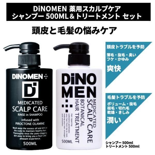DiNOMEN薬用スカルプケアリンスインシャンプー500ml&薬用スカルプケアボタニカルトリートメント500ML育毛頭皮フケかゆ