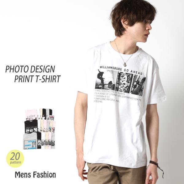 Tシャツメンズ半袖フォトデザインプリントTシャツショート丈綿100%全20柄春夏トップス丸首