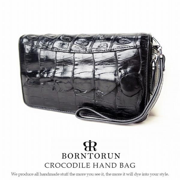 14fd26b892b7 セカンドバッグ メンズ 本革 シャムクロコ クロコダイル ダブルファスナー ワニ革 バッグ レザー 通勤 通学 鞄