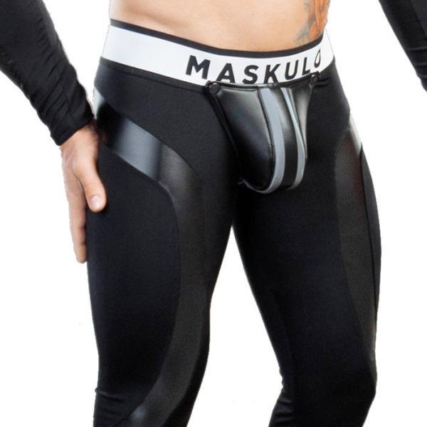 男性用レギンス ケツワレ Oバック メンズ レザー風 フェイクレザー インナー アンダー ロングスパッツ メンズタイツ ボンテージ Maskulo マスクロ(ma-lg30) mensrunway 05