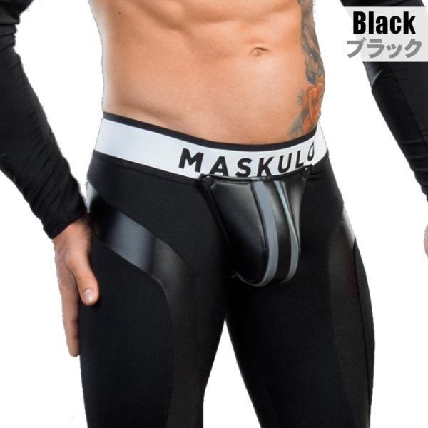 男性用レギンス ジッパー メンズ レザー風 フェイクレザー タイツ インナー アンダー ロングスパッツ メンズタイツ ボンテージ Maskulo マスクロ(ma-lg32)|mensrunway|02