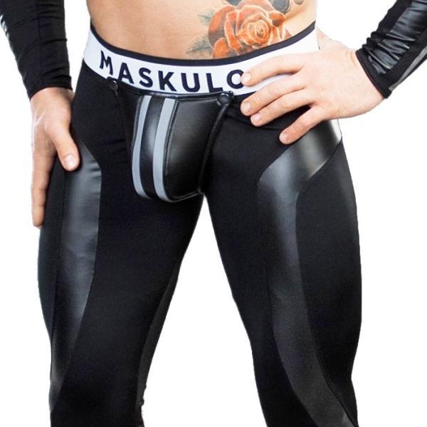 男性用レギンス ジッパー メンズ レザー風 フェイクレザー タイツ インナー アンダー ロングスパッツ メンズタイツ ボンテージ Maskulo マスクロ(ma-lg32)|mensrunway|03