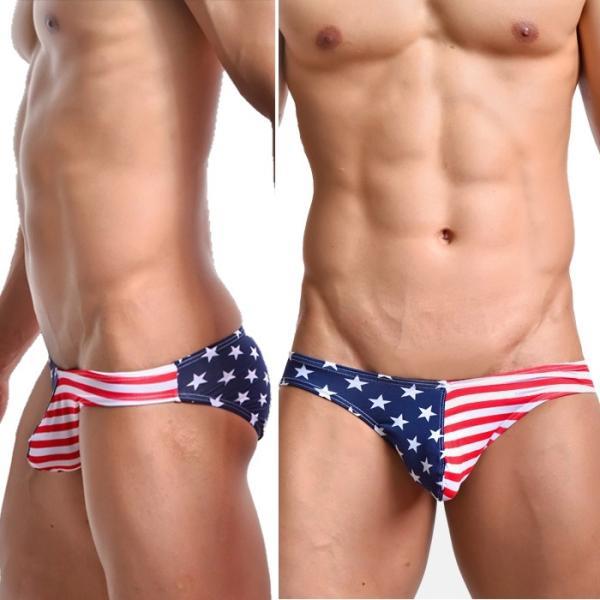 メンズビキニ 男性下着 メンズインナーWOXUAN ウォーシャン USA アメリカ国旗  ビキニ ソフトな肌触り通気性抜群(wobkamrc)|mensrunway|02
