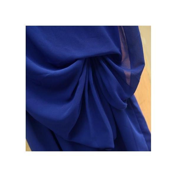 Vネック シフォン パーティー ドレス エレガントワンピース ノースリーブ 結婚式 レディース 二次会 フォーマル ブラック ブルー ミドル丈 膝丈|mercalifassion|05