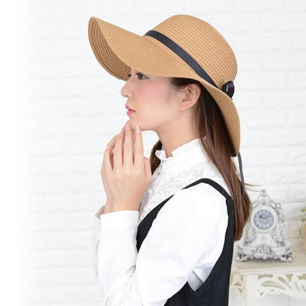 女優さん御用達 麦わら帽子 ストローハット 選べる 折りたたみ 可 紫外線 防止 UVカット レディース|mercalifassion|05