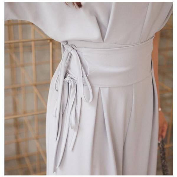 パーティードレス パンツドレス ワイドパンツ オールインワン サロペット パーティー 5分袖 半袖  Vネック ウエストリボン リネン混|mercalifassion|14