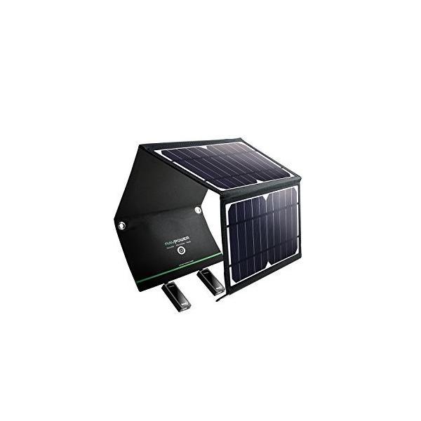 人気!RAVPower ソーラーチャージャー ソーラー充電器 16W 2ポート iPhone Android各種対応 RP-PC008|merciteam