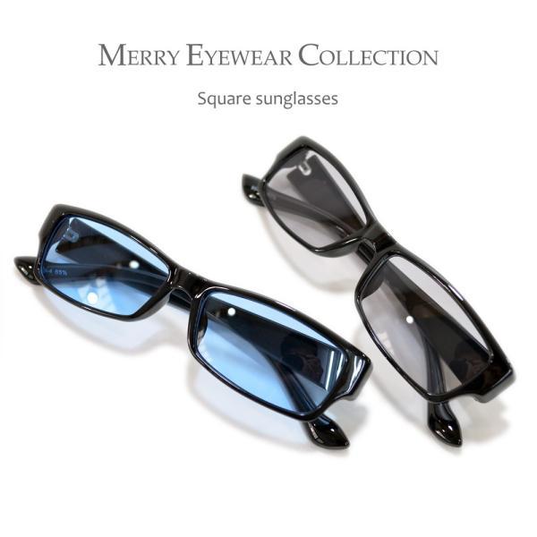 【全4色】 伊達メガネ サングラス スクエア スクウェア 四角 薄い色 カラーレンズ  メンズ レディース 安い 紫外線カット merry 02