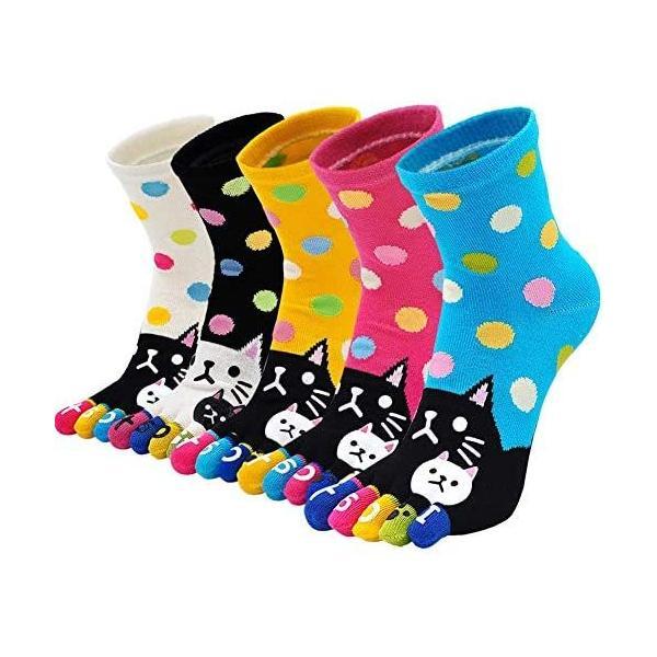 NiBao五本指ソックスレディース柔らかい可愛い猫漫画5つ指靴下ショートソックス個性靴下綿抗菌防臭効果(中筒M)