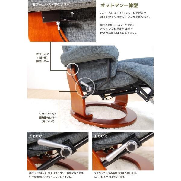 パーソナルチェア 1人掛け 1P リクライニングチェアー ファブリック リクライナーチェア|meuble|04