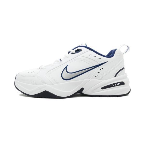 スニーカー ナイキ NIKE エアモナーク4 ホワイト/シルバー/ネイビー メンズ レディース シューズ 靴 18HO|mexico|02