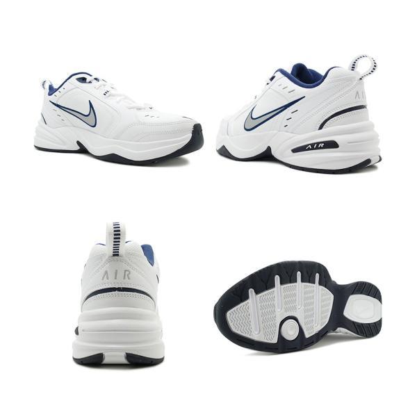 スニーカー ナイキ NIKE エアモナーク4 ホワイト/シルバー/ネイビー メンズ レディース シューズ 靴 18HO|mexico|03