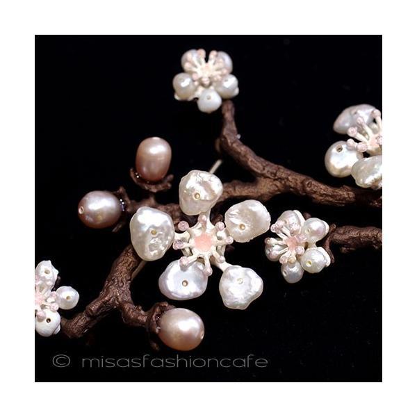MichaelMichaud (マイケルミショー) 桜の木パールブローチ さくらの花 真珠 淡水パール  コサージュ