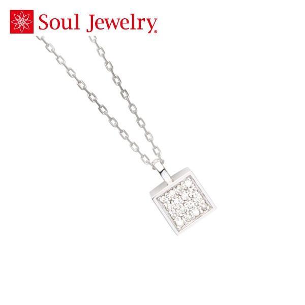 遺骨ペンダント Soul Jewelry キューブ パヴェ シルバー925 『ダイヤモンド』 (2209001121)[遺骨 ペンダント アクセサリー]