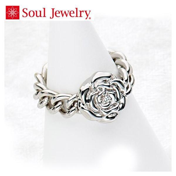 遺骨アクセサリー Soul Jewelry チェーンリング ローズ 遺骨を納めて身につけられる指輪 (2209002463)[チェーンリング ローズ]  シルバー925