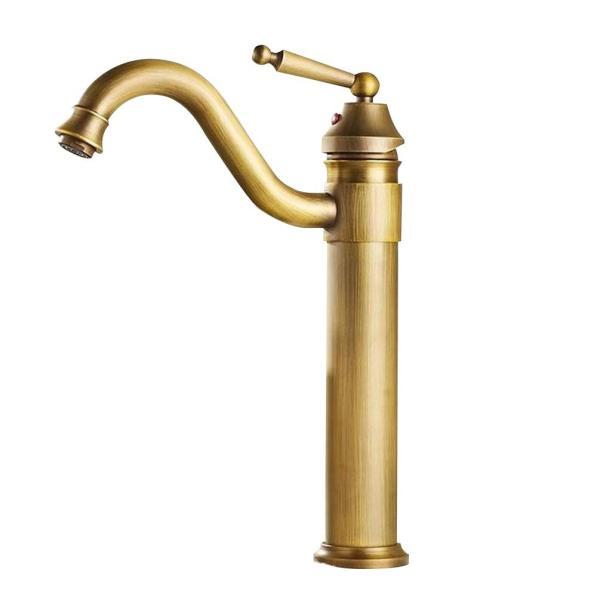 Sccot(スクット)洗面用蛇口 アンティーク シングルレバー混合水栓 ロング水栓 手洗いボウル 360度回転|mgshop0401