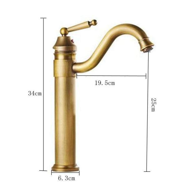 Sccot(スクット)洗面用蛇口 アンティーク シングルレバー混合水栓 ロング水栓 手洗いボウル 360度回転|mgshop0401|02