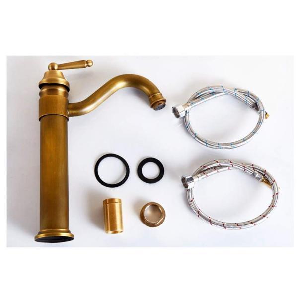 Sccot(スクット)洗面用蛇口 アンティーク シングルレバー混合水栓 ロング水栓 手洗いボウル 360度回転|mgshop0401|05