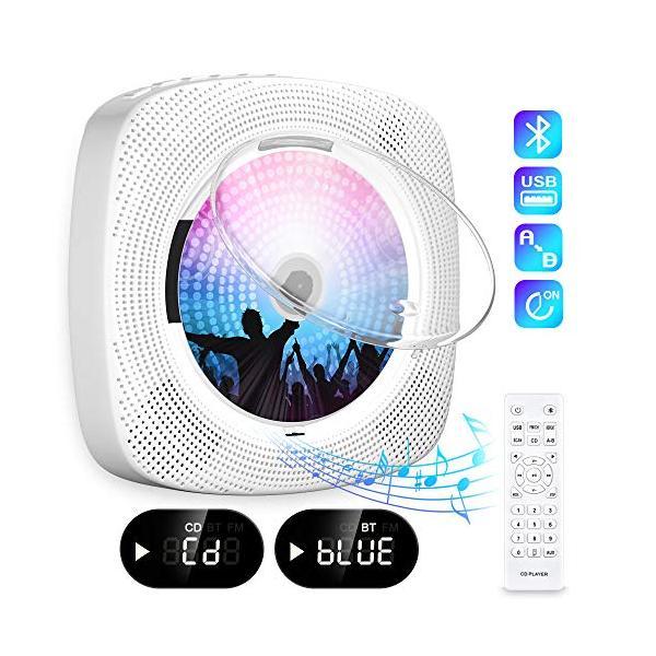 FohilCDプレーヤー置き&壁掛け式ポータブルCDプレーヤー1台多役2020年最新版Bluetooth/CD/FM/USB/A