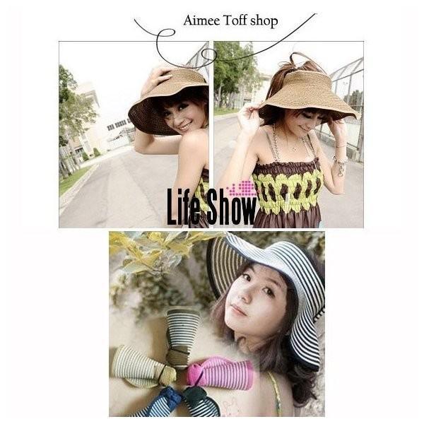 レディース 帽子 サンバイザー日よけ 麦わら帽子 UVカット つば付き 紫外線 携帯可能 折りたたみ 夏必須