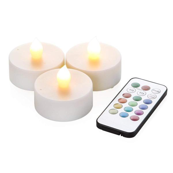 WY 12色LEDティーライトキャンドル[3個セット]リモコン付 4h/8hタイマー機能 照明モード切替 WY-LEDSET004-3 micomema 07