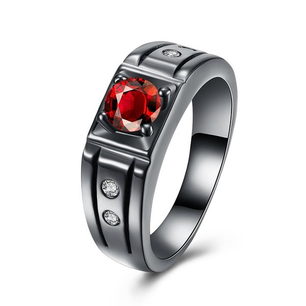 Rockyu ブランド レディース 指輪 12 ステンレス ブラック 赤 キュービックジルコニア おしゃれ ピンキーリング