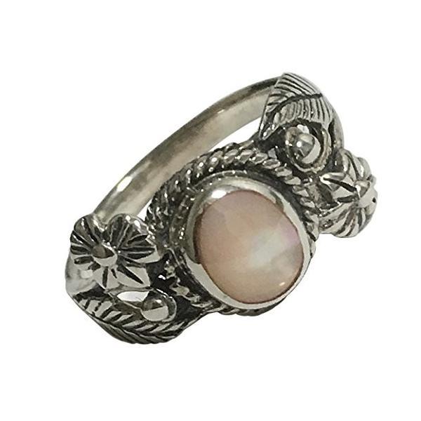 植物モチーフ ピンクシェル SILVER925 マザーオブパール ピンキーリング 小指用 指輪 エスニック シルバーリング 白蝶貝 ピンク