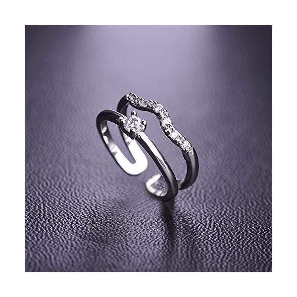 MECHOSEN レディース ジルコン かわいい 人気リング 波形 曲線型 ファッション ピンキーリング 指輪 テイルリング ホワイトデーお