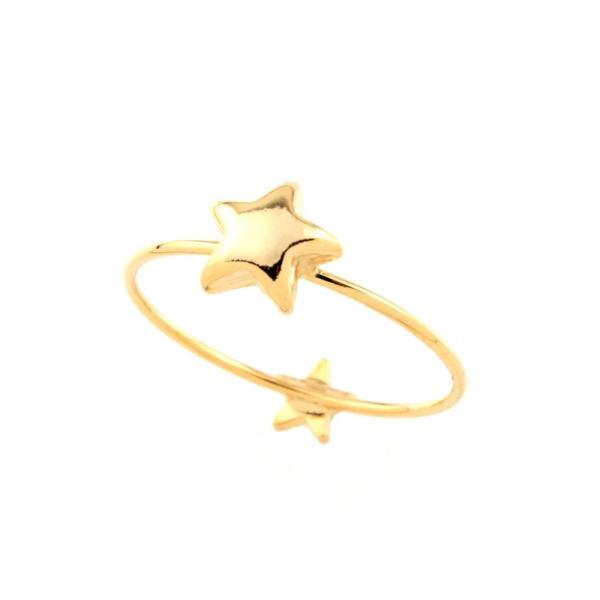 Jewelry Shop M手のひらにもモチーフぷっくりメタルスターピンキーリング ピンクゴールド (r122-PG)