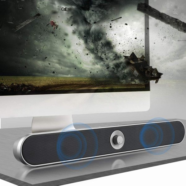 PC スピーカー、ZENBRE Soundbar3 16W/デュアル振膜ステレオ Bluetooth 4.2 ワイヤレスサウンドバー 高音質