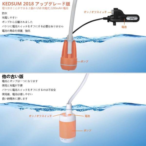 KEDSUM アップグレード版ポータブルシャワー アウトドアシャワー 簡易シャワー USB充電式電池 ダブル電池 持ち運び キャンプ 旅行|micomema|03