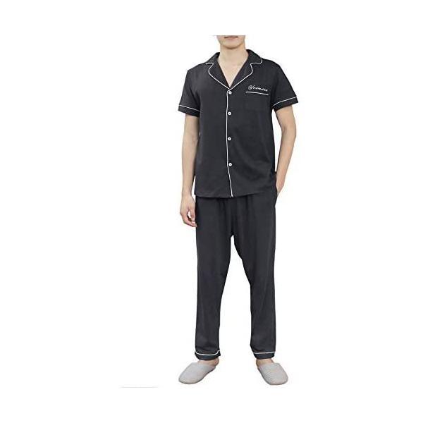 紳士メンズパジャマ半袖綿上下セットルームウェアメンズコットン部屋ぎおおきいサイズ前開き無地(半袖グレー+ズボンS)