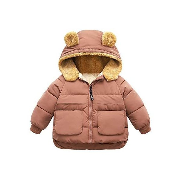 Eveliyningベビー服コートジャンパー冬男の子女の子裏起毛ダウン長袖フード付き耳つき純色(チョコレート120)