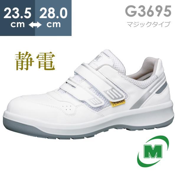 安全靴 ミドリ安全 メンズ レディース G3695 静電 マジックタイプ ホワイト ワイド樹脂先芯 メッシュ ローカット 通気性 蒸れない 日本製