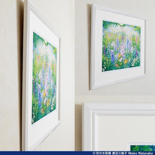 渡辺三絵子 花の水彩画 ジークレー版画(複製画)「春光」額装Mサイズ|mieko-watanabe|10