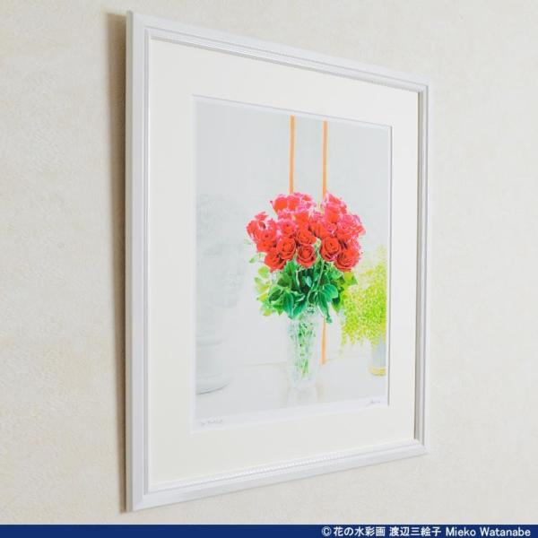 渡辺三絵子 花の水彩画 ジークレー版画(複製画) バラ「サムライ08」額装Mサイズ|mieko-watanabe|03