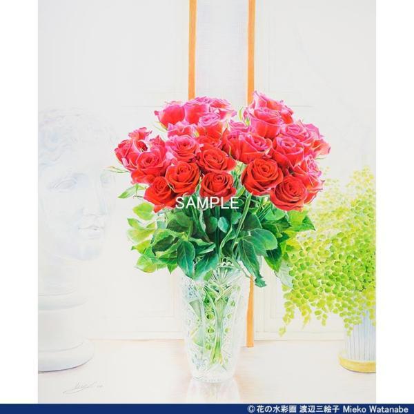 渡辺三絵子 花の水彩画 ジークレー版画(複製画) バラ「サムライ08」額装Mサイズ|mieko-watanabe|04