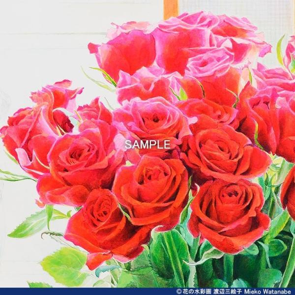 渡辺三絵子 花の水彩画 ジークレー版画(複製画) バラ「サムライ08」額装Mサイズ|mieko-watanabe|05