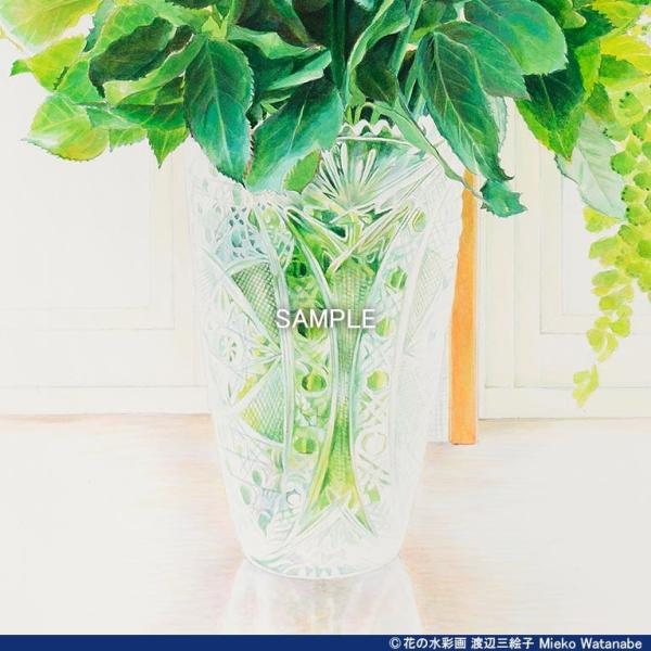 渡辺三絵子 花の水彩画 ジークレー版画(複製画) バラ「サムライ08」額装Mサイズ|mieko-watanabe|08