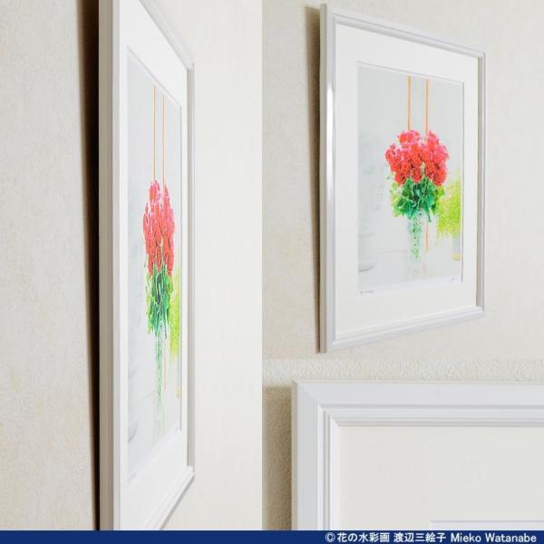 渡辺三絵子 花の水彩画 ジークレー版画(複製画) バラ「サムライ08」額装Mサイズ|mieko-watanabe|10