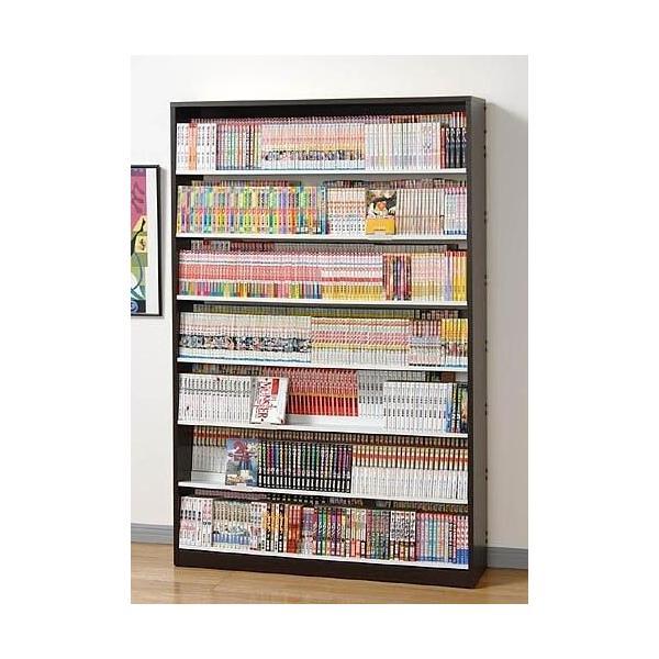 漫画 コミック DVD 大量収納 最大1078冊 本棚 段違いコミックラック CMS1190 ウォルナットダーク|mifuji