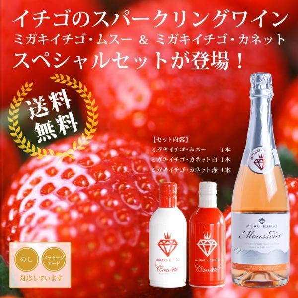 イチゴ スパークリングワイン ミガキイチゴ・ムスー1本&ミガキイチゴ・カネット2本入りセット|migaki-ichigo|02