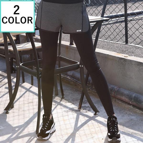 レギンス付きショートパンツ ショートパンツ付きレギンス スパッツ付き 一体型 レディース ボトムス スポーツウェア ランニングウェア ランニングタイツ|mignonlindo