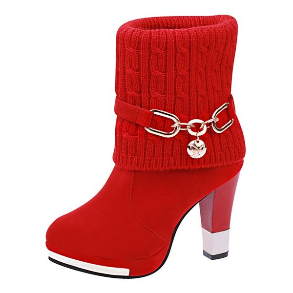 ニットブーツ ショートブーツ レディース ブーツ 靴 シューズ ハイヒール チャンキーヒール メタルトゥ アーモンドトゥ スエード調 ニット 異素材